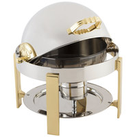 Bon Chef 20014G Petite 3 Qt. Dripless Round Stainless Steel with Gold Accents Roll Top Chafer with Contemporary Legs