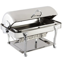 Bon Chef 17040CH Elite Rectangle 8 Qt. Dripless Stainless Steel with Chrome Accents Roll Top Chafer with Renaissance Legs