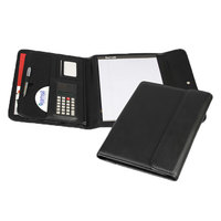 Samsill 70890 10 3/4 inch x 13 1/8 inch Black Vinyl Pad Holder with Calculator and Snap Closure