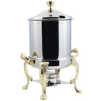 Bon Chef 37001HL Renaissance Petite 8 Qt. Stainless Steel with Brass Accents Hinged Top Marmite Chafer