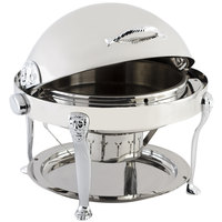 Bon Chef 18000CH Elite Round 8 Qt. Dripless Round Stainless Steel with Chrome Accents Roll Top Chafer with Lion Legs