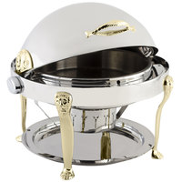 Bon Chef 18000 Elite Round 8 Qt. Dripless Round Stainless Steel with Brass Accents Roll Top Chafer with Lion Legs