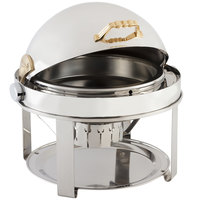 Bon Chef 12010G Elite Round 8 Qt. Dripless Round Stainless Steel with Gold Accents Roll Top Chafer with Contemporary Legs
