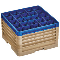 Vollrath CR10FFFFF-32944 Traex® 9 Compartment Beige Full-Size Closed Wall 11 inch Glass Rack - 4 Beige Extenders, 1 Royal Blue Extender