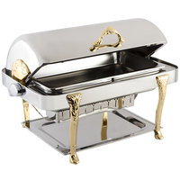 Bon Chef 17040G Elite Rectangle 8 Qt. Dripless Stainless Steel with Gold Plated Accents Roll Top Chafer with Renaissance Legs