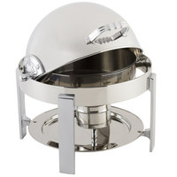 Bon Chef 20014CH Petite 3 Qt. Dripless Round Stainless Steel with Chrome Accents Roll Top Chafer with Contemporary Legs