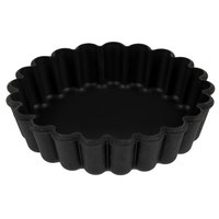 Matfer Bourgeat 345658 Exoglass 4 inch x 3/4 inch Fluted Non-Stick Tartlet / Quiche Mold - 12/Pack