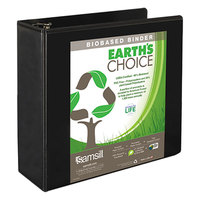 Samsill 18990 Earth's Choice Black Biobased View Binder with 4 inch Round Rings