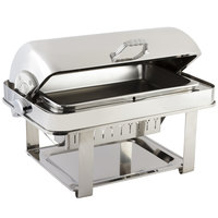Bon Chef 12004CH Elite Rectangle 8 Qt. Dripless Stainless Steel with Chrome Accents Roll Top Chafer