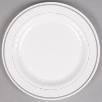 WNA Comet MP9WSLVR 9 inch White Masterpiece Plastic Plate with Silver Accent Bands   - 120/Case
