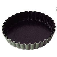 Matfer Bourgeat 334103 EXAL 4 1/8 inch Fluted Non-Stick Tart / Quiche Pan - 6/Pack