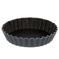 Matfer Bourgeat 334103 EXAL 4 1/8 inch x 3/4 inch Fluted Non-Stick Tart / Quiche Pan - 6/Pack
