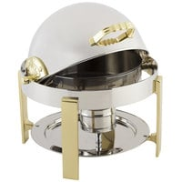 Bon Chef 20014 Petite 3 Qt. Dripless Round Stainless Steel with Brass Accents Roll Top Chafer with Contemporary Legs