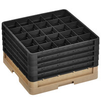 Vollrath CR10FFFFF-32806 Traex® 9 Compartment Beige Full-Size Closed Wall 11 inch Glass Rack with 5 Black Extenders
