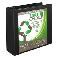 Samsill 18980 Earth's Choice Black Biobased View Binder with 3 inch Round Rings