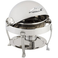 Bon Chef 12014CH Petite 3 Qt. Dripless Round Stainless Steel with Chrome Accents Roll Top Chafer with Aurora Legs