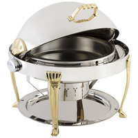 Bon Chef 12009 Elite Round 8 Qt. Dripless Round Stainless Steel with Brass Accents Roll Top Chafer with Aurora Legs