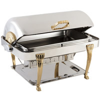 Bon Chef 14040 Elite Rectangle 8 Qt. Dripless Stainless Steel with 24K Gold Accents Roll Top Chafer with Aurora Legs