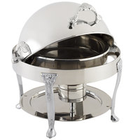 Bon Chef 17014CH Petite 3 Qt. Dripless Round Stainless Steel with Chrome Accents Roll Top Chafer with Renaissance Legs