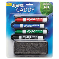 Expo 1785294 Assorted 4-Color Chisel Tip Dry Erase Marker Set with Mountable Whiteboard Caddy
