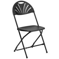 Flash Furniture LE-L-4-BK-GG Hercules Black Plastic Fan Back Folding Chair