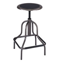 Safco 6665 Diesel Series Pewter Industrial Stool with Leather Seat