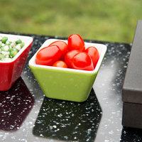 Vollrath V2220070 5 oz. Green / White Extra-Small Square Melamine Bowl
