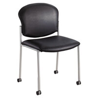 Safco 4194BV Diaz Black Vinyl Guest Chair with Casters