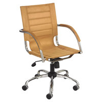 Safco 3456CM Flaunt Camel Mid-Back Microfiber Manager's Chair with Arms and Chrome Frame