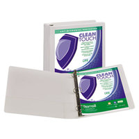 Samsill 18257 Clean Touch White Antimicrobial View Binder with 1 1/2 inch Locking Round Rings
