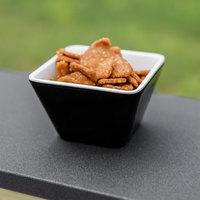 Vollrath V2220020 5 oz. Black / White Extra-Small Square Melamine Bowl