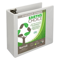 Samsill 18997 Earth's Choice White Biobased View Binder with 4 inch Round Rings