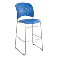 Safco 6806BU Reve Blue Plastic Stackable Bistro Chair with Sled Base