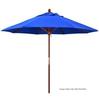 California Umbrella MARE 908 SUNBRELLA 1A Grove 9' Round Push Lift Umbrella with 1 1/2 inch Hardwood Pole - Sunbrella 1A Canopy
