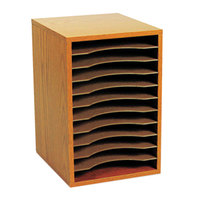 Safco 9419MO 10 5/8 inch x 11 7/8 inch x 16 inch Medium Oak 11 Section Wood Vertical Desktop Sorter