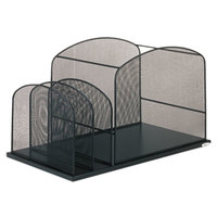 Safco 3259BL 19 3/8 inch x 11 3/8 inch x 11 1/4 inch Black 3 Section Steel Mesh Desktop Hanging File Organizer