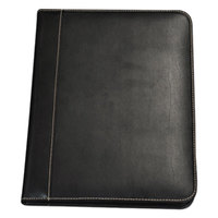 Samsill 71710 9 1/4 inch x 12 1/2 inch Black Leather Contrast Stitch Padfolio