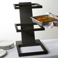 Vollrath V9047900 Cubic Black Wood 2/3 Pan Tiered Stand