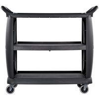 Carlisle CC224303 3 Shelf Oversized Black Utility Cart 300 lb. Capacity