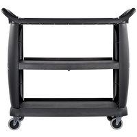 Carlisle CC224303 3 Shelf Oversized Black Utility Cart 300 lb. Capacity