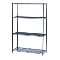 Safco 5291BL Black 3 Shelf Industrial Wire Shelving Kit - 48 inch x 18 inch x 72 inch