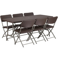 Flash Furniture DAD-YCZ-172-61-GG 32 1/2 inch x 67 1/2 inch Brown Rattan Plastic Folding Table Set with 6 Folding Chairs