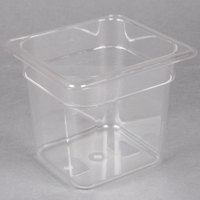 1/6 Size Clear Polycarbonate Food Pan - 6 inch Deep