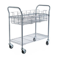 Safco 5236GR 18 3/4 inch x 39 inch x 38 1/2 inch Metallic Gray 600 lb. Wire Mail Cart