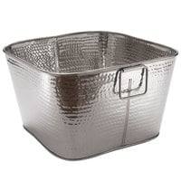 American Metalcraft STH16 16 inch x 9 inch Hammered Stainless Steel Square Beverage Tub