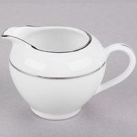 10 Strawberry Street DSL0016 8 oz. Double Line Silver Porcelain Creamer - 6/Case