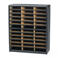 Safco 7121BL Black 36-Section Steel / Fiberboard File Organizer - 32 1/4 inch x 13 1/2 inch x 38 inch