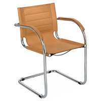 Safco 3457CM Flaunt Camel Microfiber Guest Chair with Arms and Chrome Frame