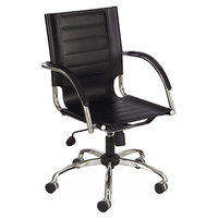 Safco 3456BL Flaunt Black Mid-Back Leather Manager's Chair with Arms and Chrome Frame