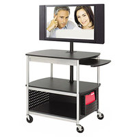 Safco 8940BL Scoot 39 1/2 inch x 27 inch x 68 inch Black 3-Shelf Flat Panel Multimedia Cart